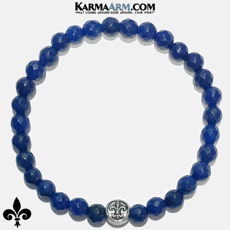 Fleur de Lis Meditation Mantra Self-Care Wellness Yoga Bracelets. Mens Wristband Jewelry. Blue Jade.