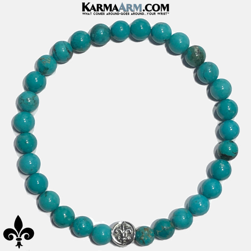Fleur de Lis Meditation Mantra Self-Care Wellness Yoga Bracelets. Mens Wristband Jewelry. Turquoise copy 2