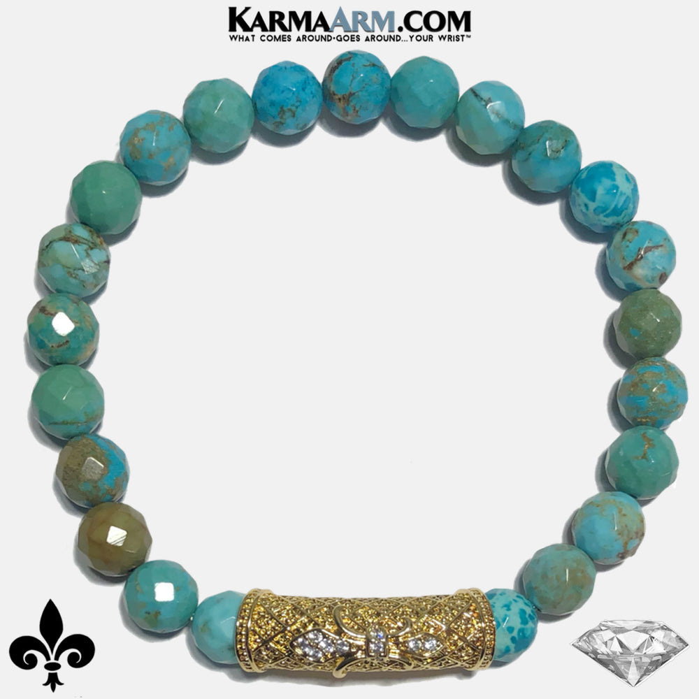 Fleur de Lis Meditation Mantra Self-Care Wellness Yoga Bracelets. Mens Wristband Jewelry. Turquoise copy