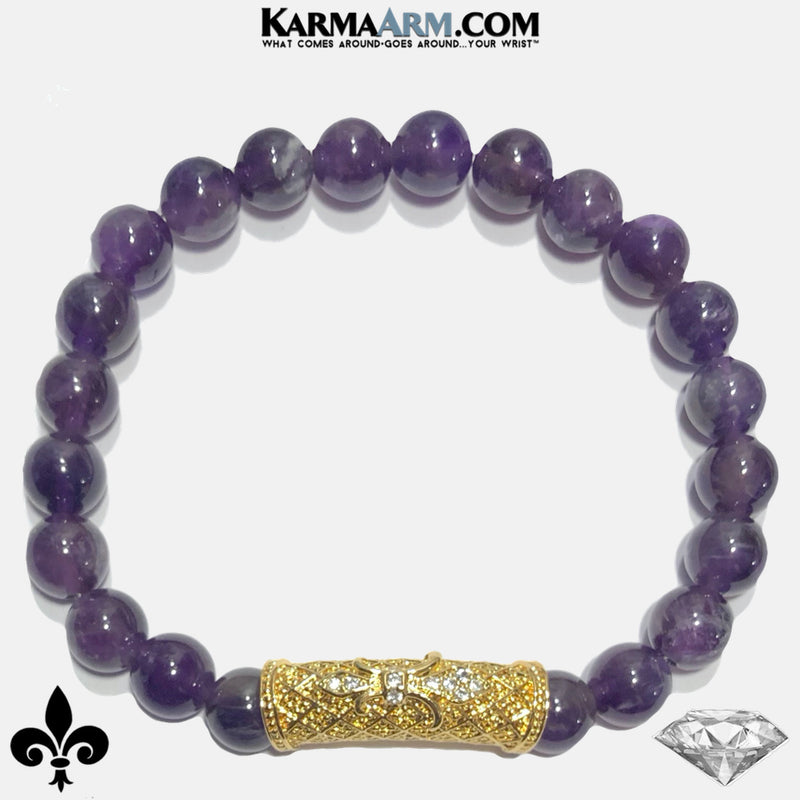 Fleur de Lis Meditation Mantra Yoga Bracelets. Mens Wristband Jewelry. Amethyst. copy