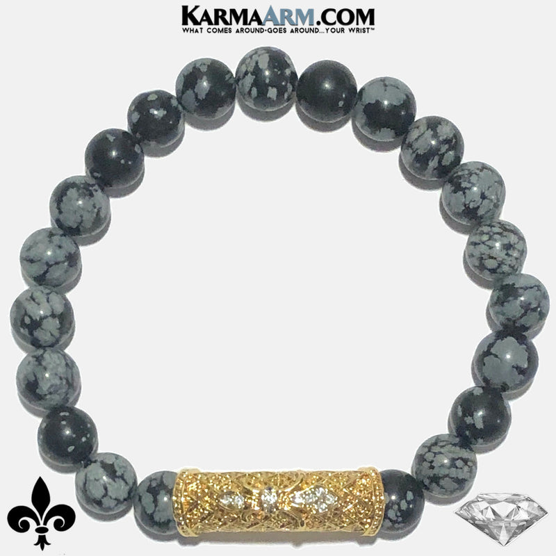 Fleur de Lis Meditation Mens Bracelet. Self-Care Wellness Wristband Yoga Jewelry. Snowflake Obsidian.   copy