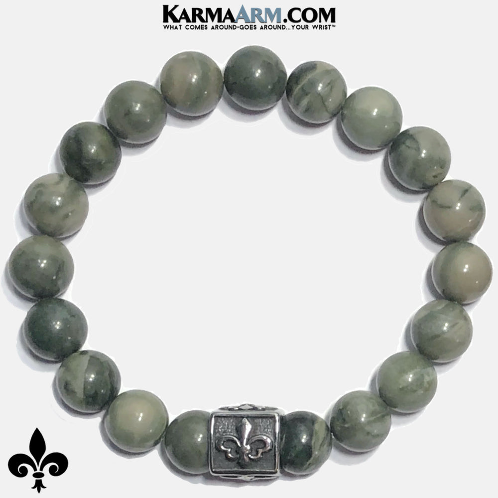 Fleur de Lis Meditation Mindfulness Mantra Yoga Bracelets. Self-Care Wellness Wristband Jewelry. Green Line Jasper. copy
