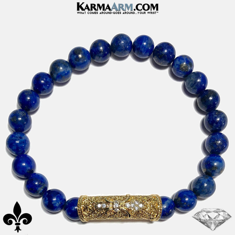 Fleur de Lis Wellness Self-Care Meditation Mantra Yoga Bracelets. Mens Wristband Jewelry. Lapis.   CZ Diamond.