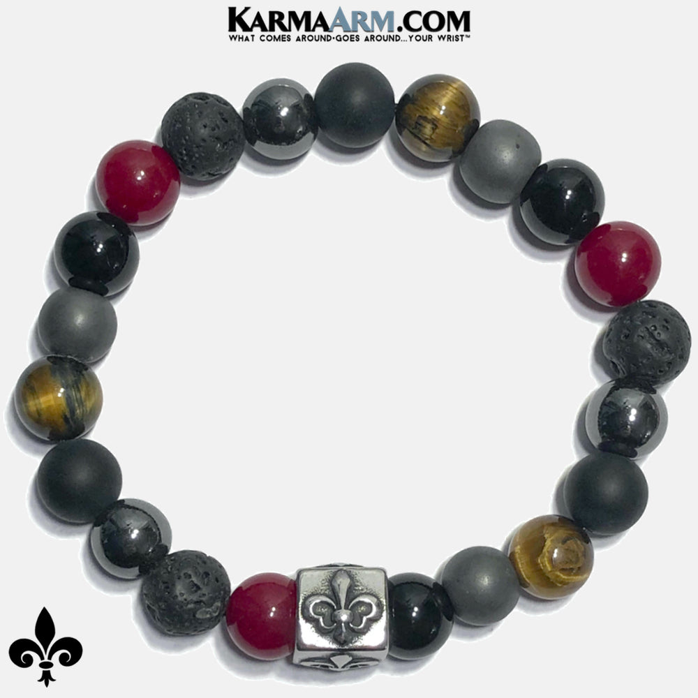 Mens Fleur de Lis Spiritual Wellness Self-Care Meditation Mantra Yoga Bracelets. Mens Wristband Jewelry. Red Jade lava Onyx Hematite. copy