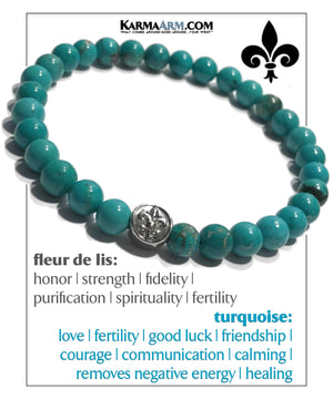 Fleur de Lis Wellness Self-Care Meditation Mantra Yoga Bracelets. Mens Wristband Jewelry. Blue Turquoise. copy 3