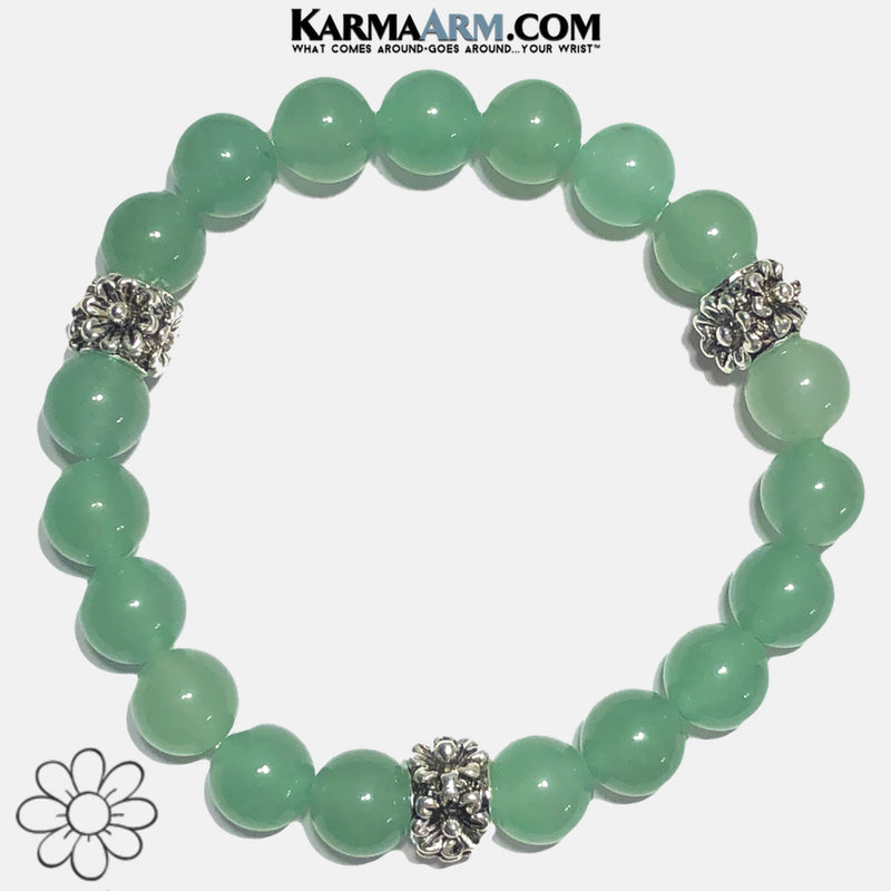 Floral Flower Yoga Bracelet. Meditation Self-Care Wellness Wristband Zen bead mala Jewelry.  Green Aventurine.
