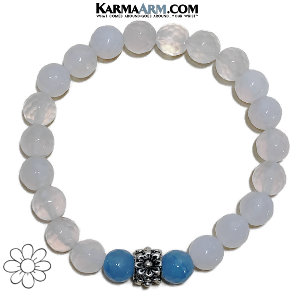 Floral Meditation Mantra Yoga Bracelet. Self-Care Wellness Wristband White Jade. Blue.