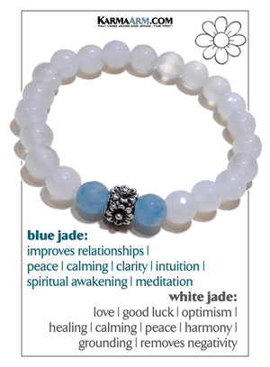 Floral Wellness Self-Care Meditation Mantra Yoga Bracelet. Wristband White Jade.