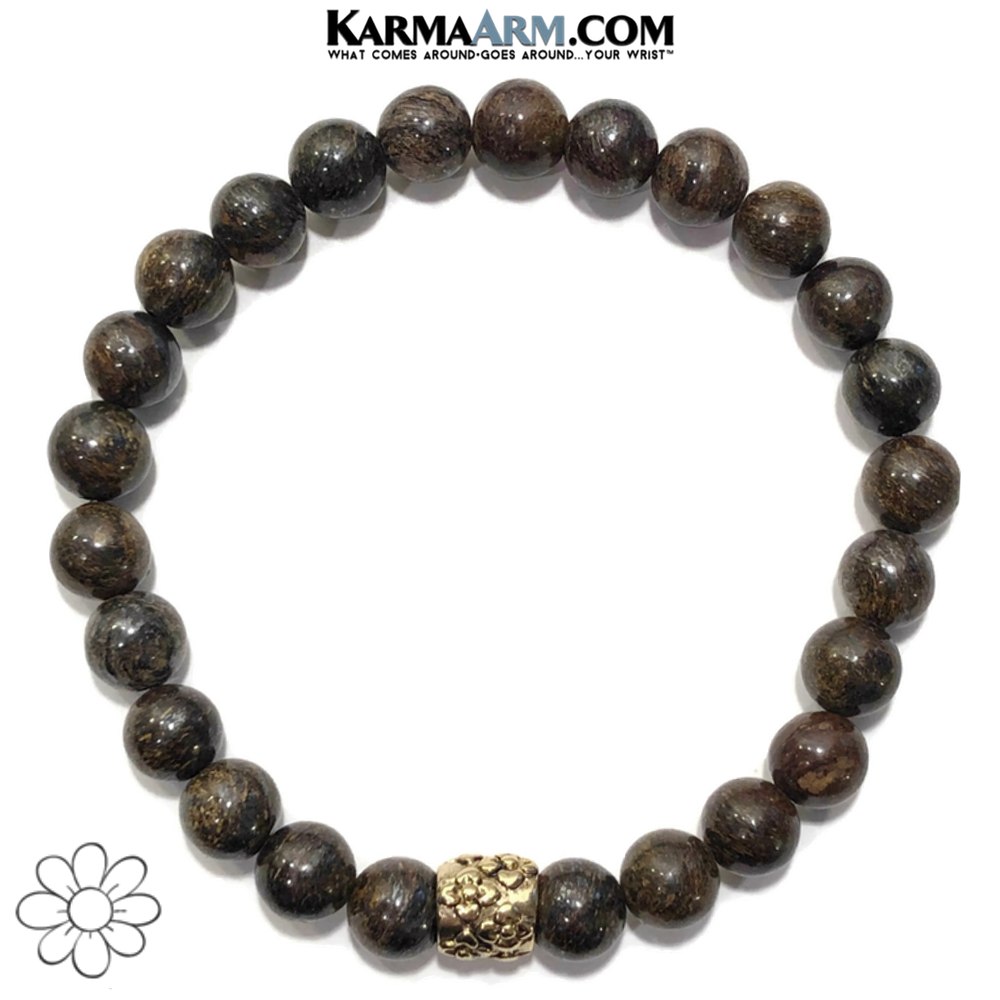 Flowers Self-Care Wellness Meditation Yoga Bracelets. Mens Wristband Jewelry. Bronzite.