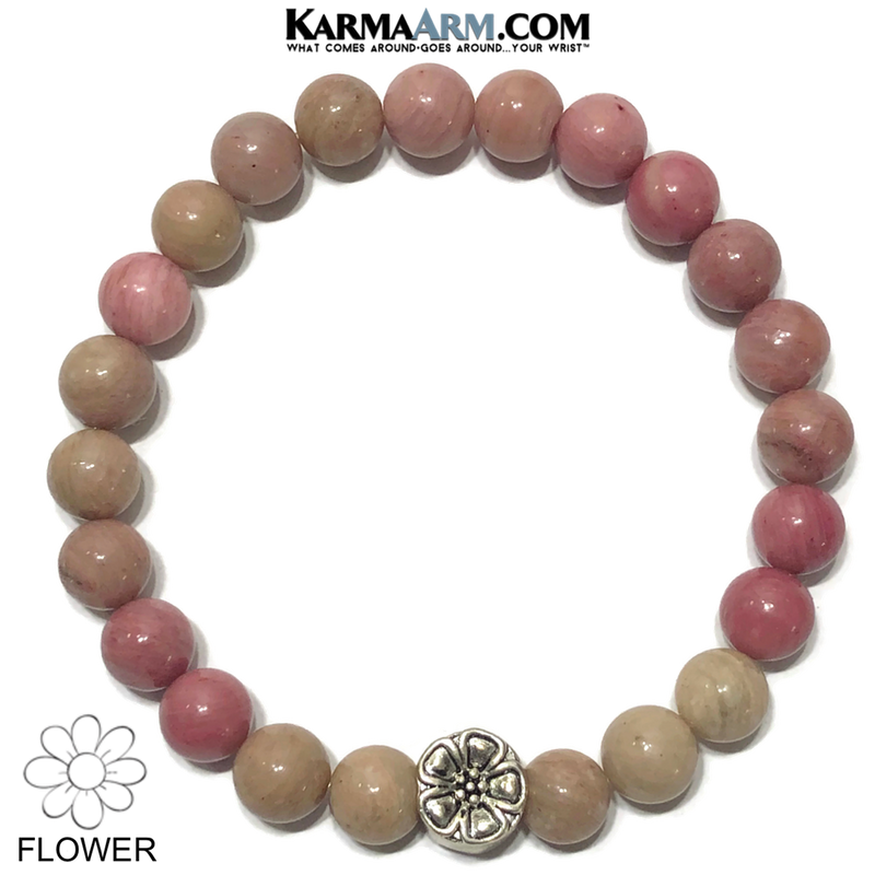 Flower Meditation Mantra Yoga Bracelets. Mens Wristband Jewelry. Rhodochrosite.
