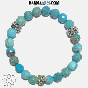 Flowers Floral Meditation Mantra Self-Care Wellness Yoga Bracelets. Mens Wristband Jewelry. Turquoise copy