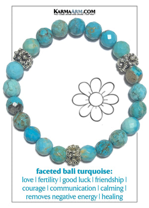 Flowers Floral Wellness Self-Care Meditation Mantra Yoga Bracelets. Mens Wristband Jewelry. Blue Turquoise. copy