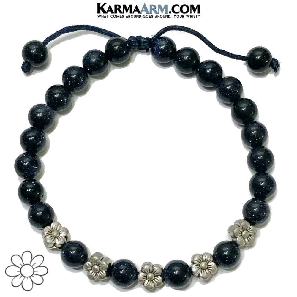Flowers Floral Meditation Self-Care Wellness Mantra Yoga Bracelet. Bead Wristband.  Blue Goldstone.