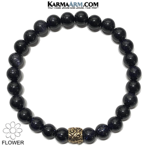 Flowers Meditation Mantra Yoga Bracelets. Mens Wristband Jewelry. Blue Goldstone.