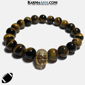Football Helmet Meditation Self-care wellness Mantra Yoga Bracelets. Mens Wristband Jewelry. Tiger Eye. copy