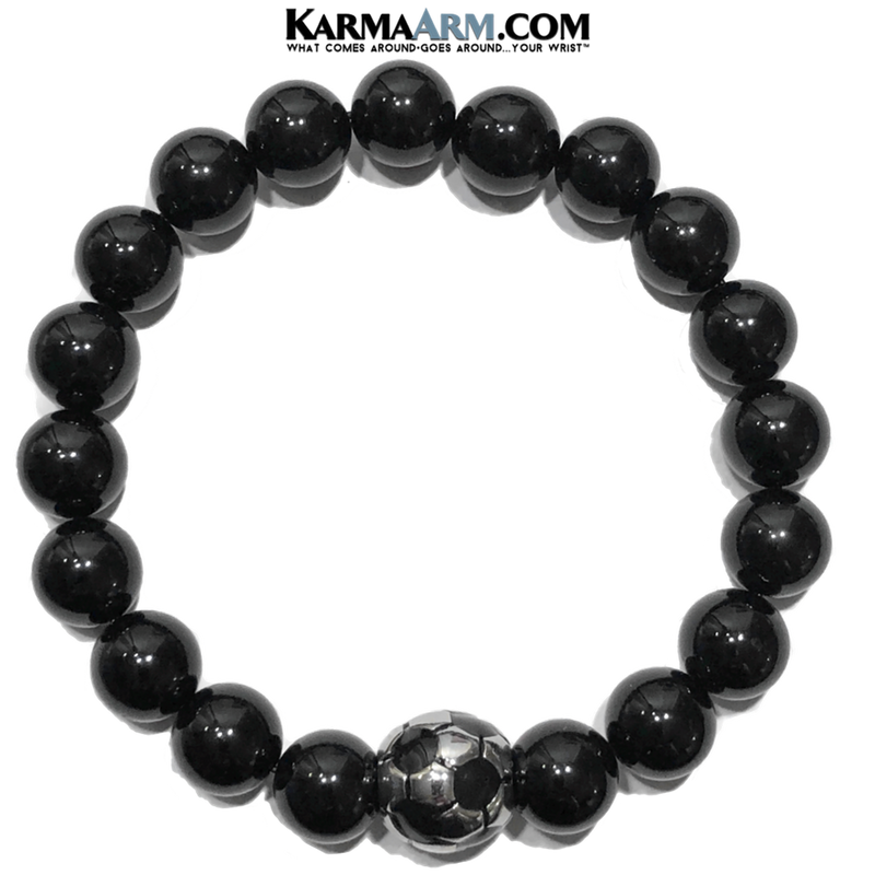 Football Soccer FIFA Sports Fitness  Yoga Bracelets. Mens Wristband Jewelry. Black Onyx.10mm.