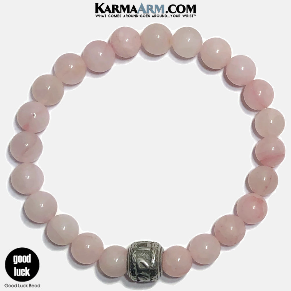 GOOD LUCK Meditation Mantra Yoga Bracelets. Self-Care Wellness Wristband Jewelry. Rose Quartz.