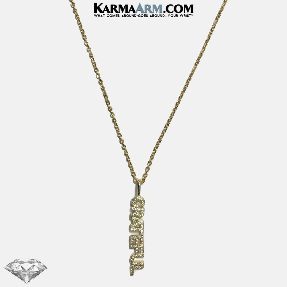 Necklace | GRATEFUL | CZ Diamond | Gold Stainless Steel Chain