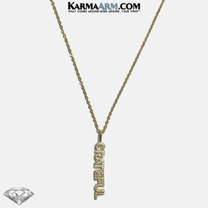 NECKLACE | GRATEFUL | CZ Diamond | Gold Stainless Steel Chain Necklace