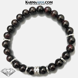 Garnet Diamond Yoga Bracelet.  Meditation Self-Care Wellness Wristband Zen bead mala Jewelry.
