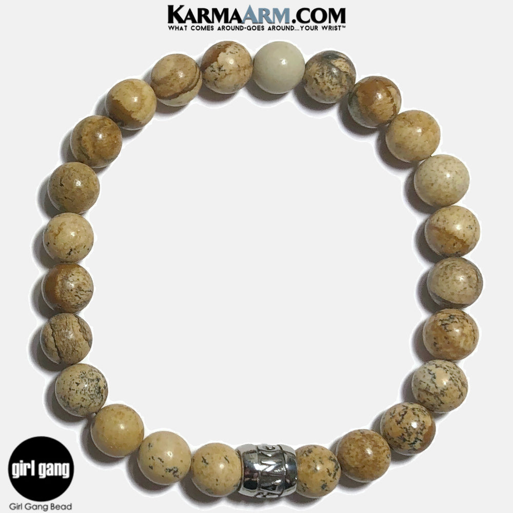 Girl Gang Meditation Mantra Yoga Bracelets. Self-Care Wellness Wristband Jewelry. Picture Jasper.