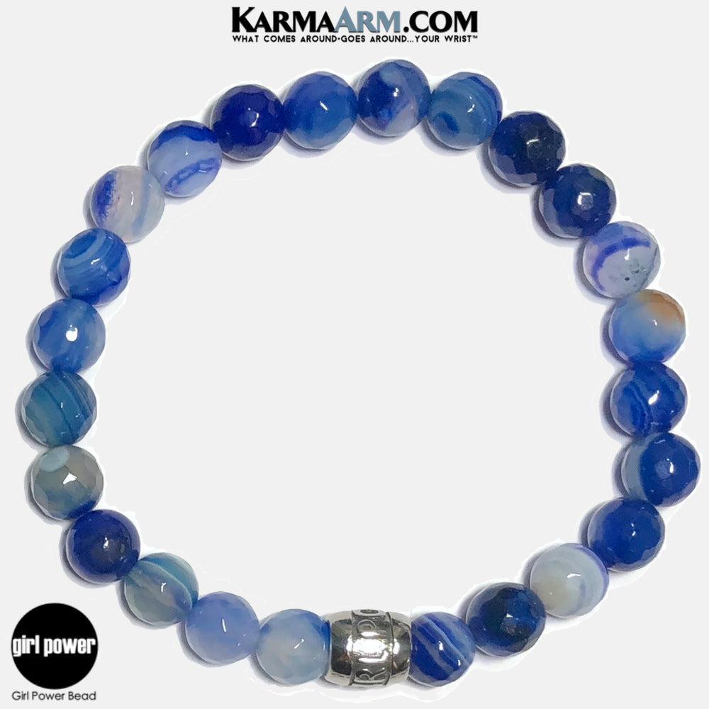 Girl Power Meditation Mantra Yoga Bracelets. Self-Care Wellness Wristband Jewelry. Faceted Blue Banded Agate.
