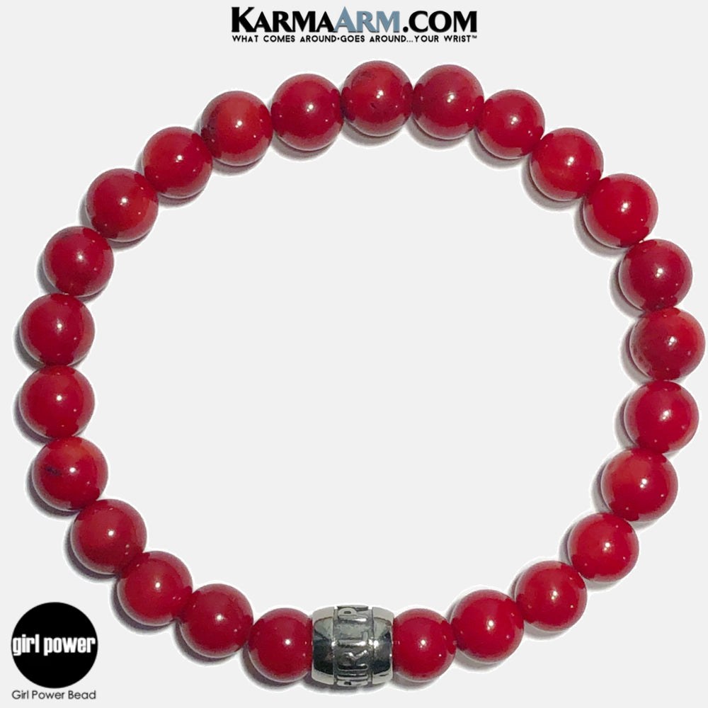 Girl Power Meditation Mantra Yoga Bracelets. Self-Care Wellness Wristband Jewelry. Red Coral.