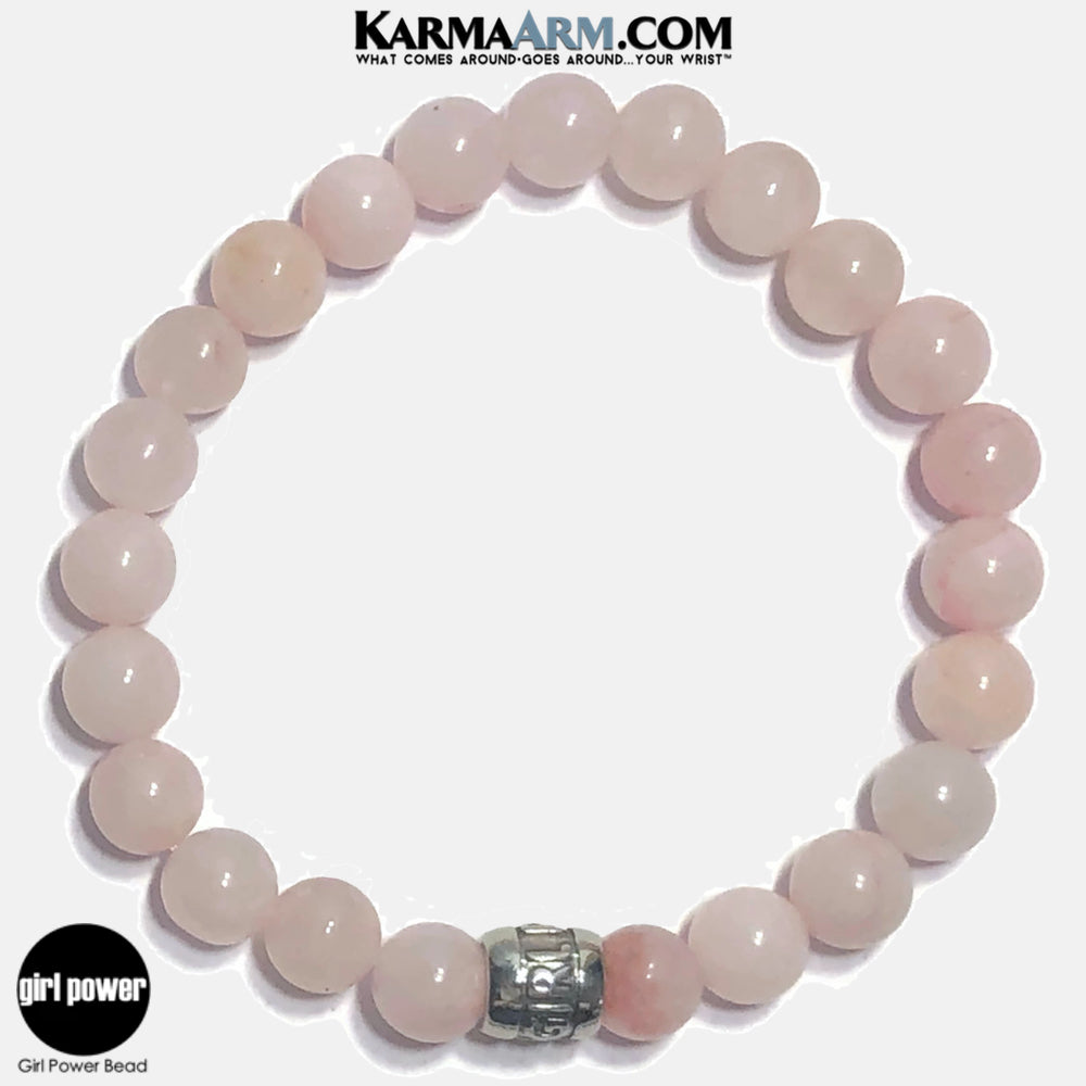 Girl Power Meditation Mantra Yoga Bracelets. Self-Care Wellness Wristband Jewelry.  Rose Quartz.
