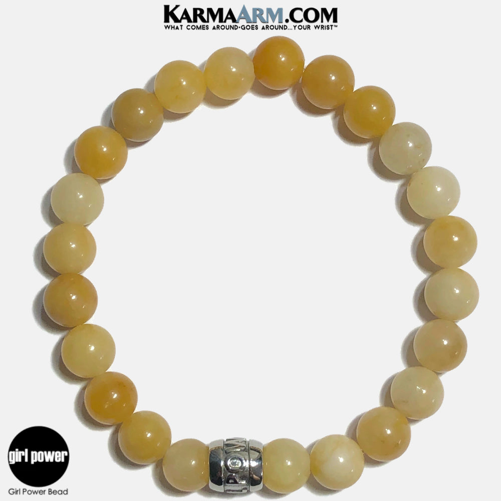 Girl Power Meditation Mantra Yoga Bracelets. Self-Care Wellness Wristband Jewelry. Yellow Aventurine. copy 3