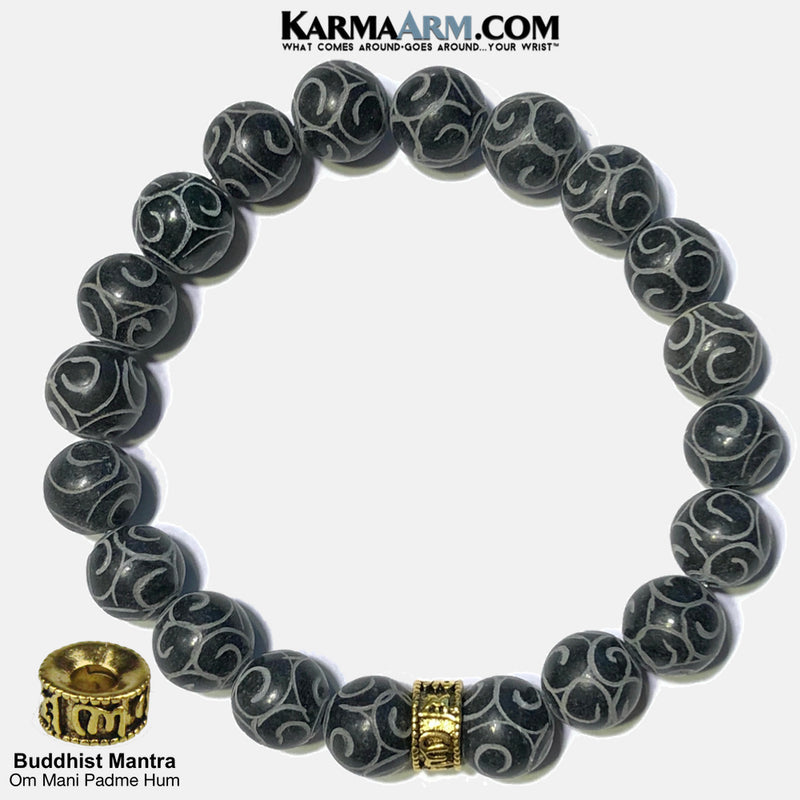 Buddhist Mantra | Om Mani Padme Hum | Carved Black Jade | 10mm Gold Rondelle