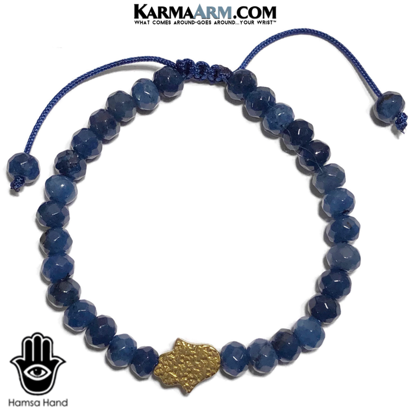 Gold Hamsa Hand Wellness Self-Care Meditation Mantra Yoga Bracelets. Mens Wristband Jewelry. Hematite Blue Jade.