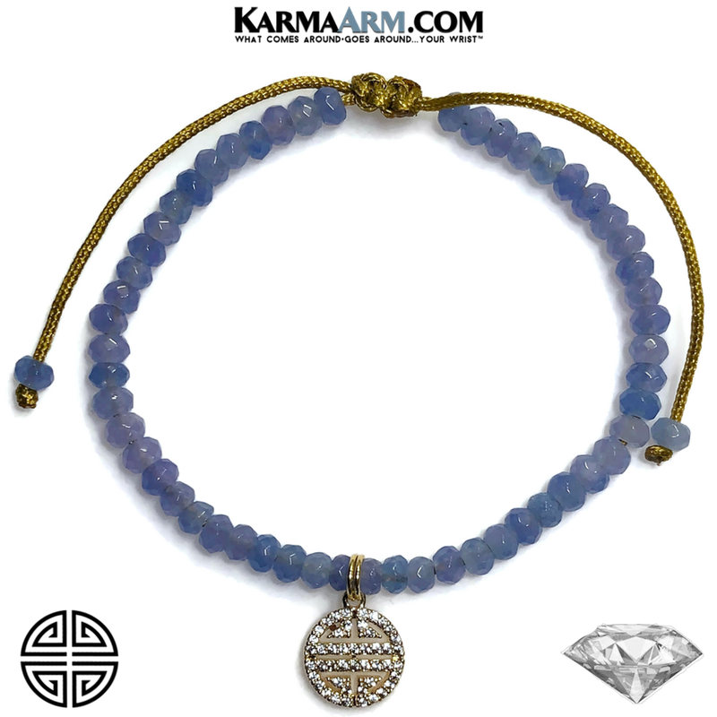 Good Fortune Icon Meditation Mantra Yoga Bracelets. Mens Wristband Jewelry. Blue Jade.