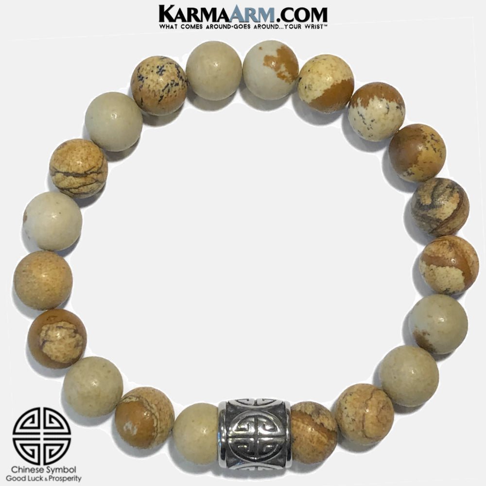 Good Luck Self-Care Meditation Wellness Yoga Bracelets. Mens Wristband Jewelry. Picture Jasper.