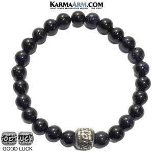 Good Luck Bracelet. Blue Goldstone meditation jewelry.