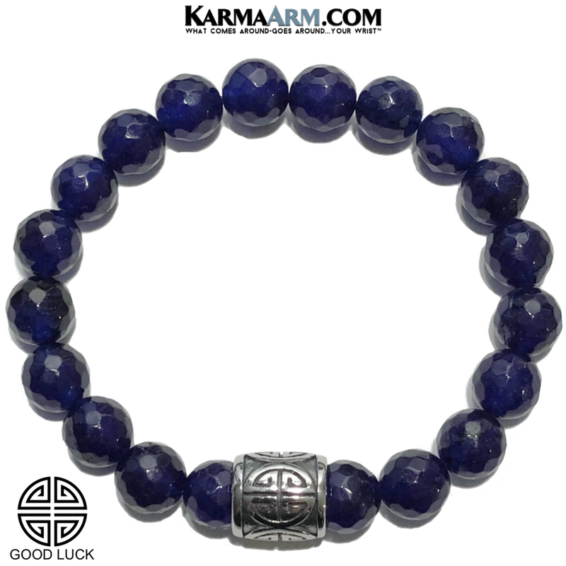 Good Luck Lucky Meditation Mantra Yoga Bracelets. Mens Wristband Jewelry. Blue Jade.
