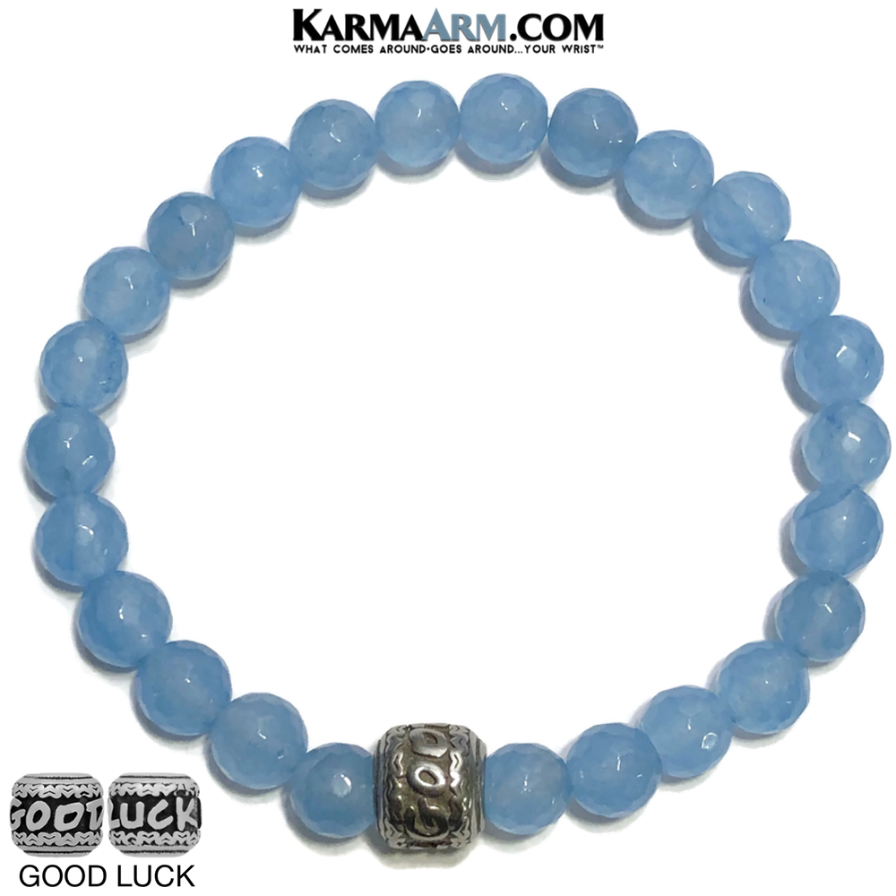 Good Luck Meditation Mantra Yoga Bracelets. Mens Wristband Jewelry. Blue Jade.