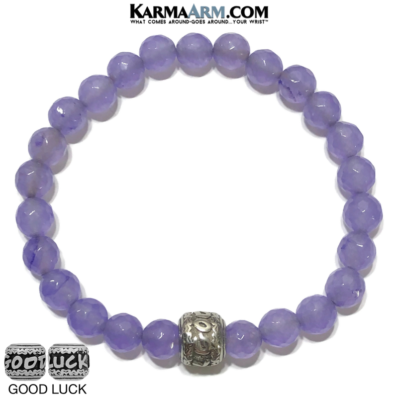 Self-Care Wellness Good Luck Meditation Mantra Yoga Bracelets. Mens Wristband Jewelry. Purple Jade.