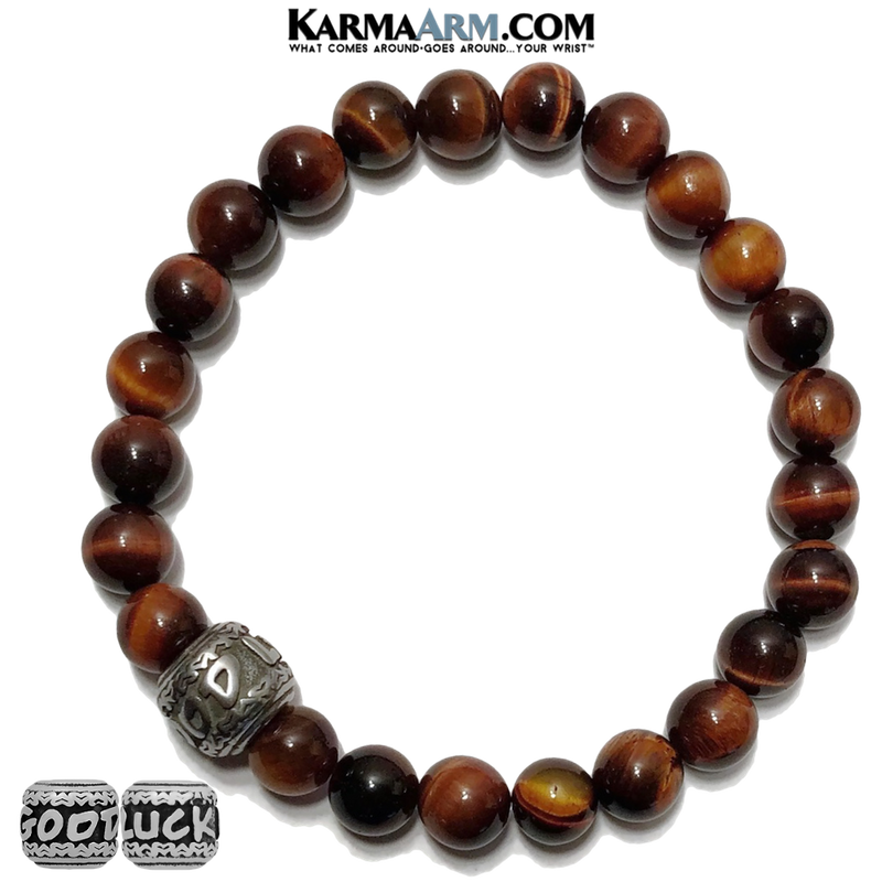 Good Luck Meditation Mantra Yoga Bracelets. Mens Wristband Jewelry. Red Tiger Eye .