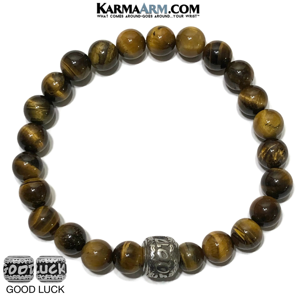 Good Luck Meditation Mantra Yoga Bracelets. Mens Wristband Jewelry. Tiger Eye.