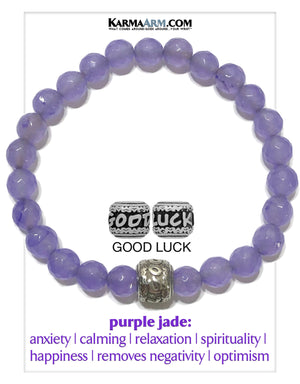 Good Luck Self-Care Wellness Meditation Mantra Yoga Bracelets. Mens Wristband Jewelry. Purple Jade.