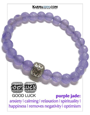 Good Luck Yoga Bracelets. Mens Wristband  Self-Care Wellness Meditation Mantra Jewelry. Purple Jade.