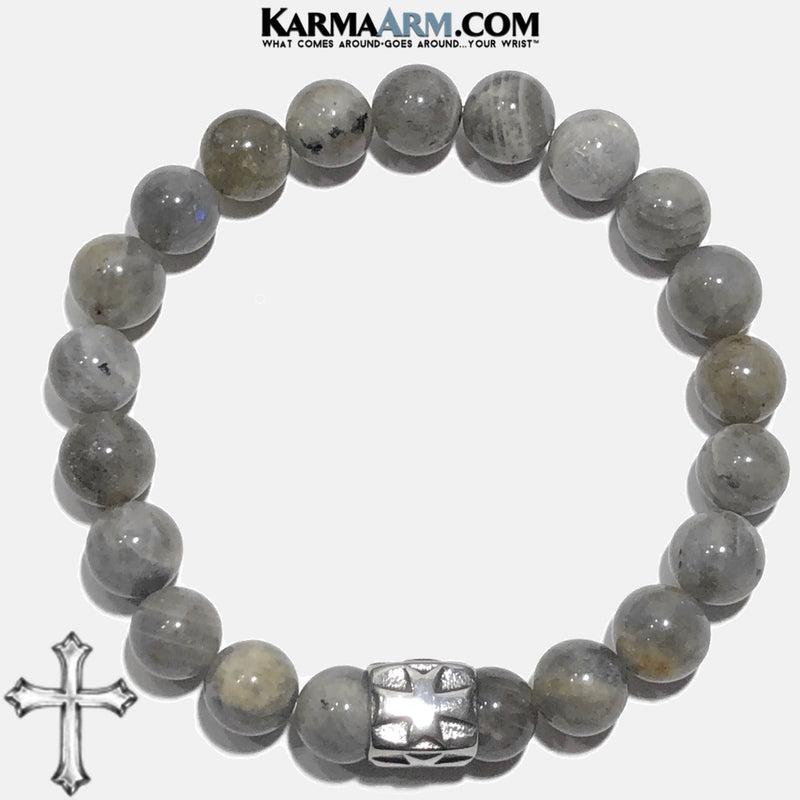 Gothic Cross Meditation Mantra Yoga Bracelets. Mens Wristband Jewelry. Labradorite.