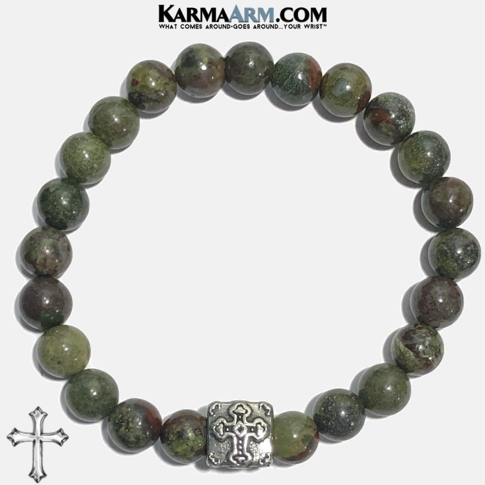 Gothic Cross Meditation Mantra Yoga Bracelets. Self Care Wellness Wristband Jewelry. Dragon Blood Stone. copy 2