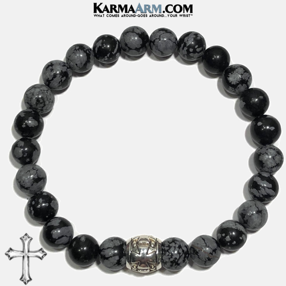 Gothic Cross Meditation Mens Bracelet. Self-Care Wellness Wristband Yoga Jewelry. Snowflake Obsidian. Barrel.