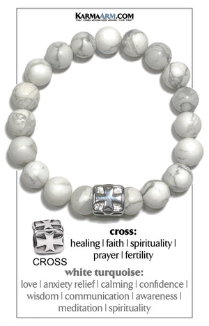 Gothic Cross Meditation Mantra Yoga Bracelets. Mens Wristband Jewelry. White Turquoise.
