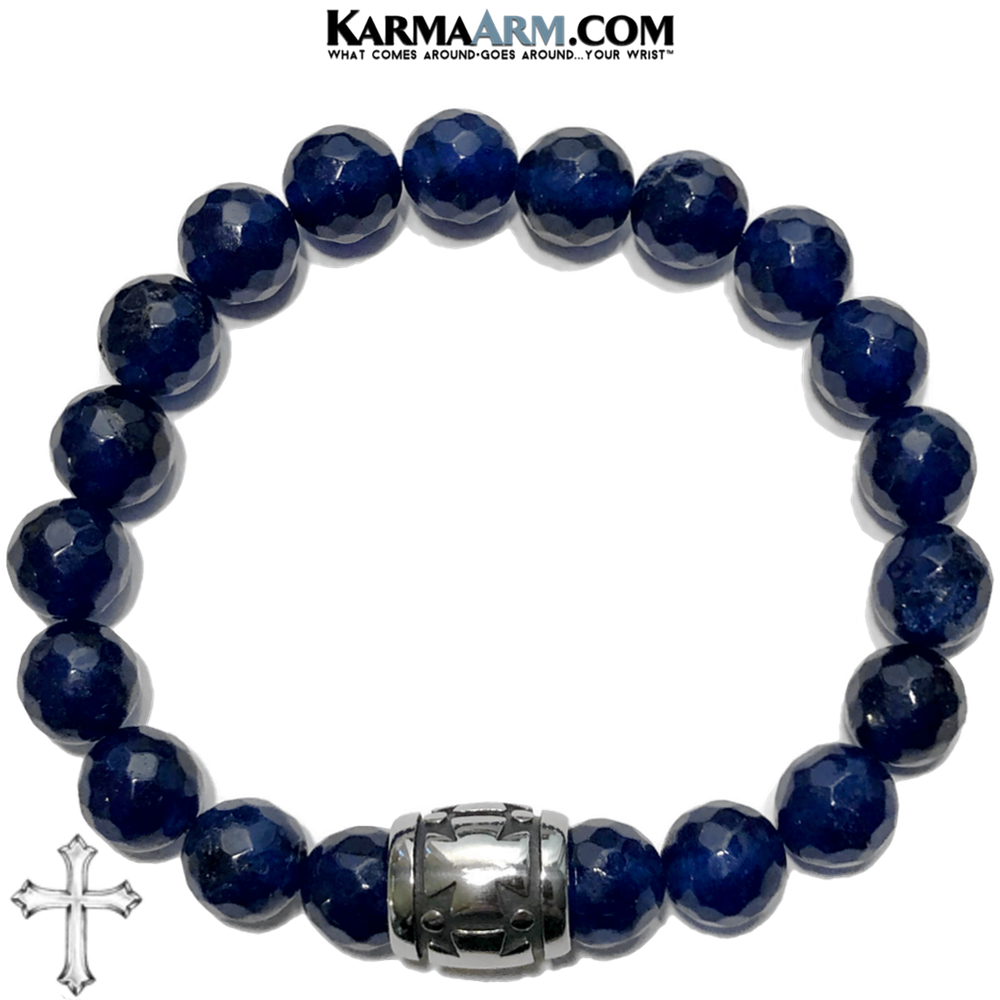 Gothic Cross Meditation Mantra Yoga Bracelets. Mens Wristband Jewelry. Blue Jade.