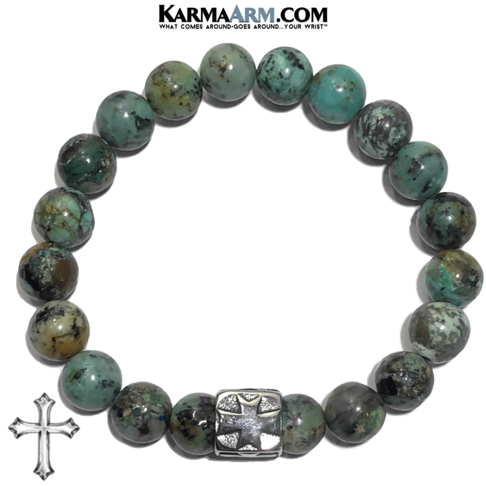 Gothic Cross Meditation Wellness Yoga Bracelets. Mens Wristband Jewelry. African Turquoise.