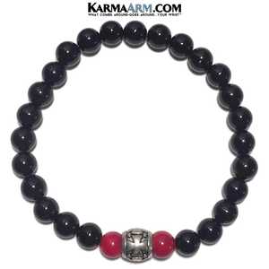 Gothic Cross Yoga Bracelet. Meditation Self-Care Wellness Wristband Zen bead mala Jewelry. Black Onyx Red Coral.