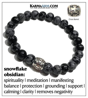 Gothic Punk Cross Meditation Mens Bracelet. Self-Care Wellness Wristband Yoga Jewelry. Snowflake Obsidian. Barrel.