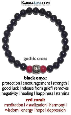 Gothic Punk Cross yoga beaded bracelet. Chakra reiki healing energy mantra meditation jewelry. Red Coral Black Onyx Mens Bracelet.   copy 2